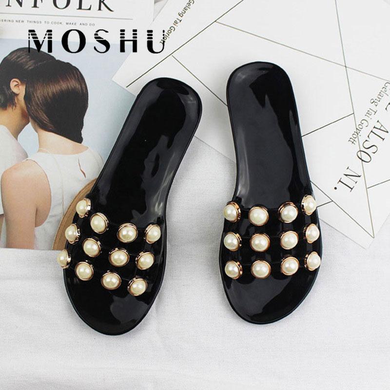 Slippers Women Summer String Bead Beach Shoes Slip On Flat Sandals Slides Sandalias