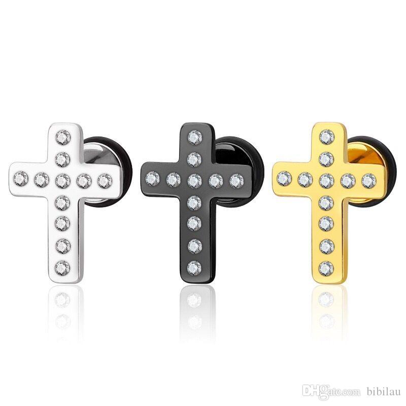 Großhandel (TE-0019) Schwarz Silber Edelstahl Kristall Kreuz Ohrstecker (1 pc) Für Männer Frauen Modeschmuck Vergoldet