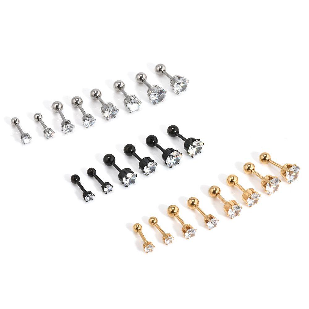 grandi orecchini per donna Orecchini da uomo in acciaio inossidabile con rivetti in lega placcati argento, tondi con orecchini in cristallo bianco con diamanti