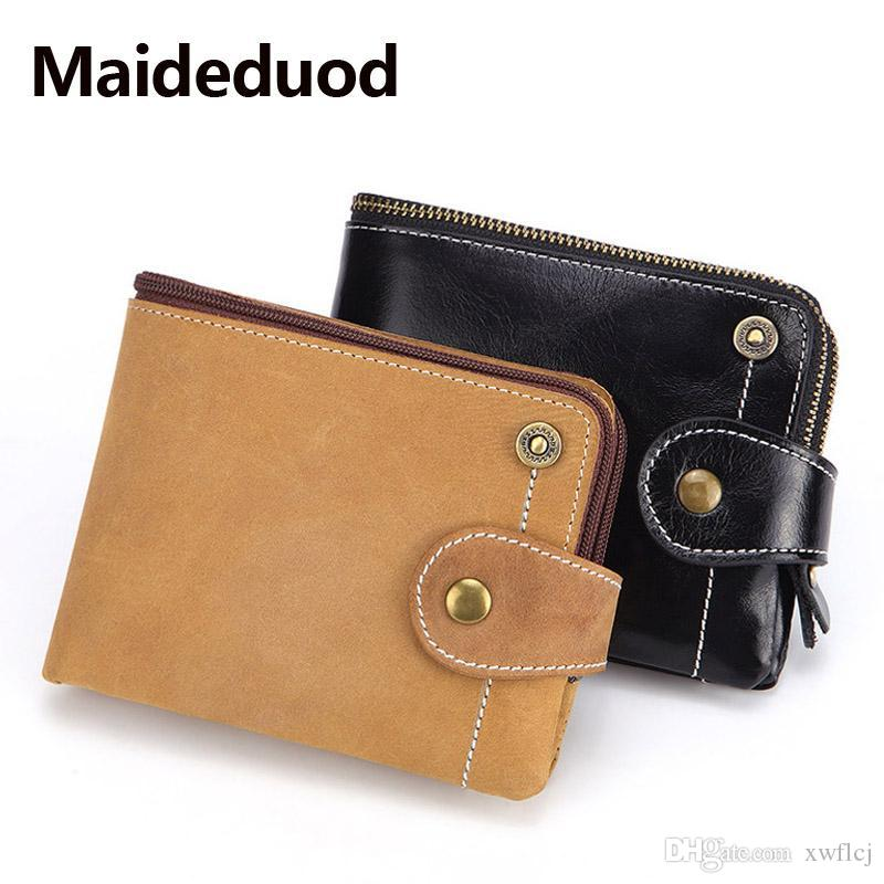 KHGUDS Brand Genuine Leather Men Wallets Luxury Credit Cards Coin Purse Male Small Walet Rfid Mini Perse