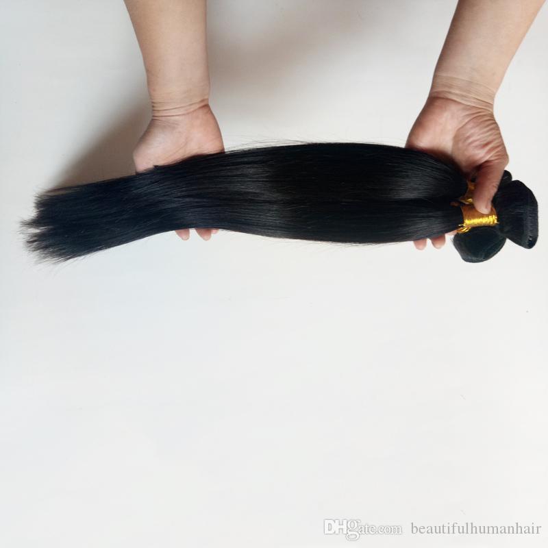 Brezilyalı Bakire ipeksi düz İnsan Saç Örgüleri 8-28 inç Doğal renk 8A Işlenmemiş Ucuz fiyat Malezya remy Saç atkı Uzantıları