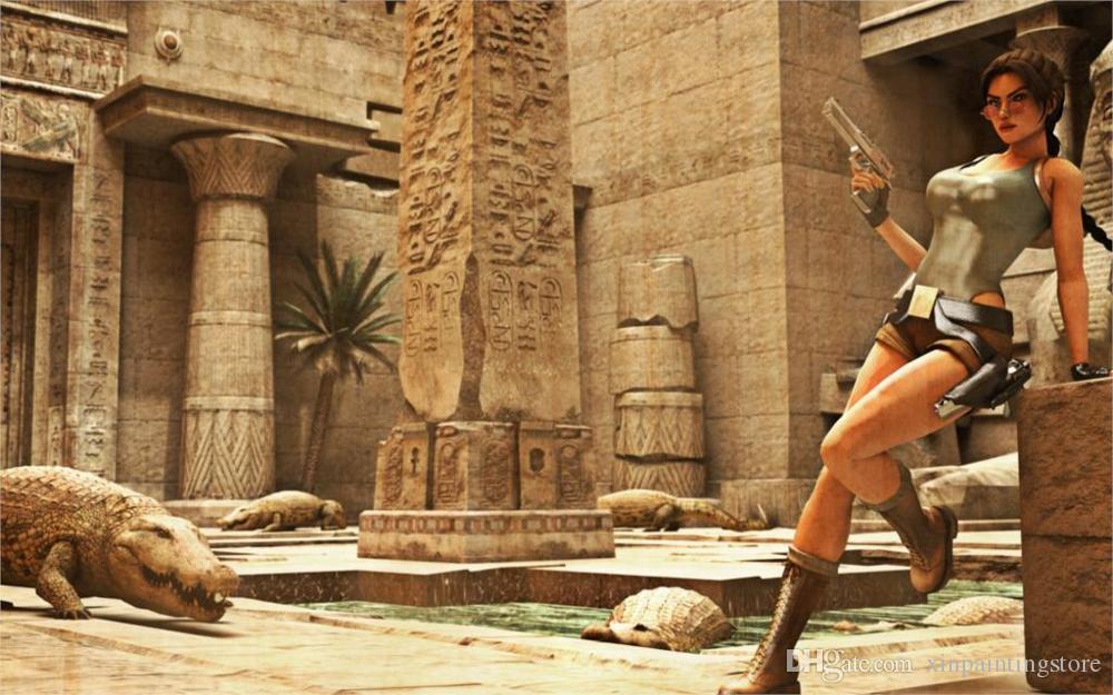 캔버스 회화 포스터 Unframed Wall Pictures 홈 장식 게임 무덤 레이더 이집트 악어 소녀 안경 lara croft