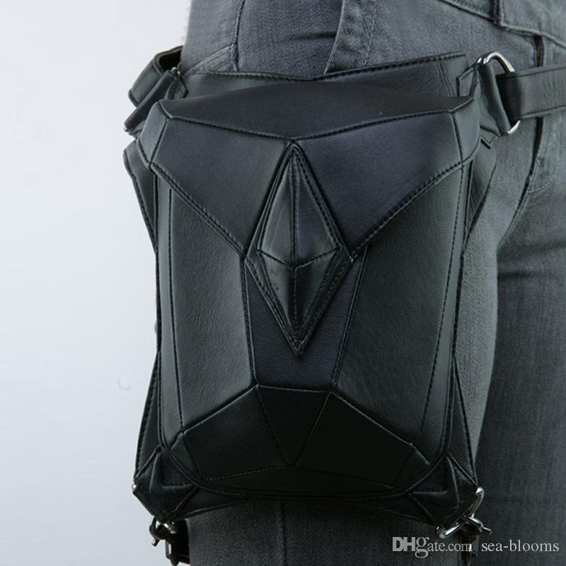 Rock Leather Vintage Unisex Gothic Steampunk Handbag Waist Pack Punk Style Leg Bag Christmas Gift Free DHL G217S