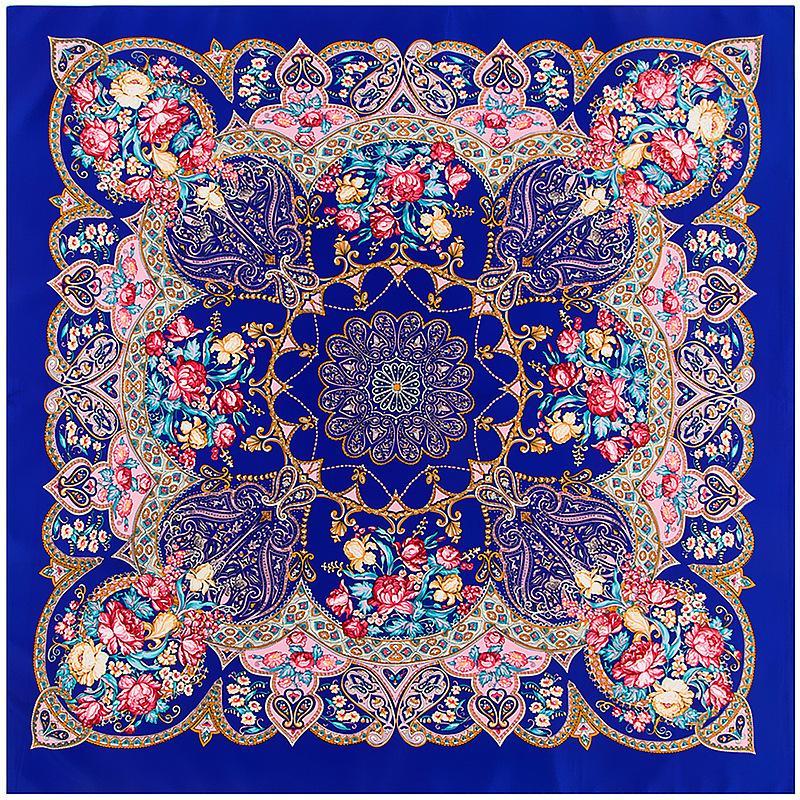 100x100 cm Twill Seidenschal Kopftuch Rose Geometrie Muster Dekorative Schal Turban Big Square Schal Damen Halstuch Dame Schals C18110801