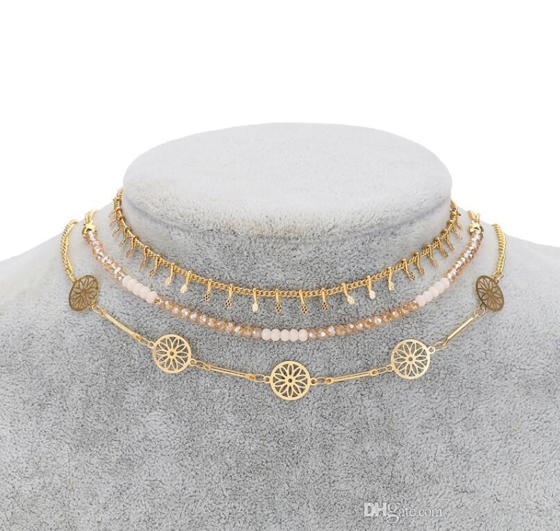 Collares colgantes Joyas De Moda Simple Metal Imitado Colgantes Chapado en Oro Lariat Change De Gargantilla Para Mujeres Al Por Mayor