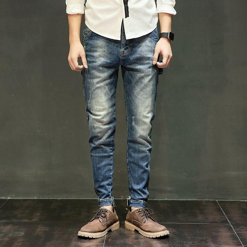 LKA nuevo diseño casual hombres pantalones vaqueros de algodón pantalones delgados pantalones largos de los hombres de moda Vintage Harem pantalones hombres más tamaño 28-40