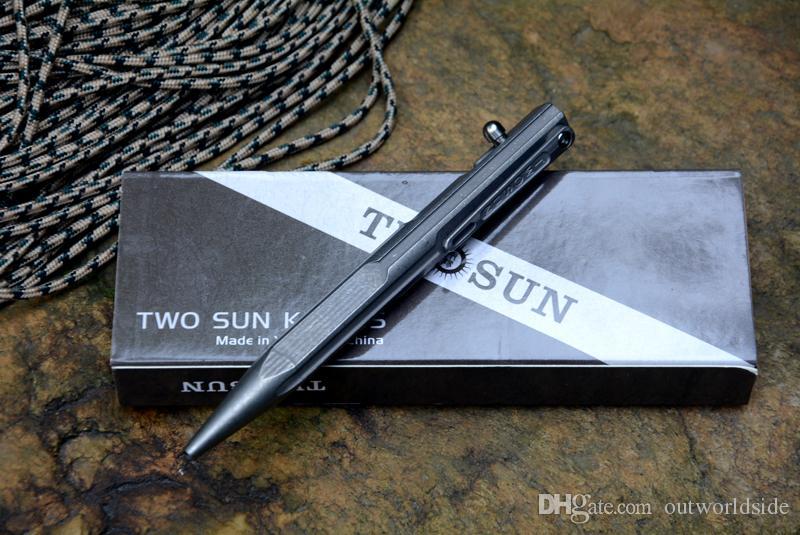 TWOSUN titanio pluma táctica caza caza al aire libre supervivencia práctica EDC escribir bolígrafos herramientas pluma de defensa para el regalo