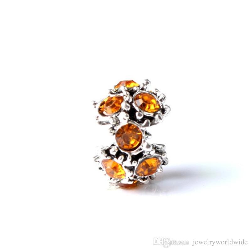Hot-Selling Charm Bead With Orange Crystal Rhinestone Big Hole Fashion Women Jewelry European Style For Pandora Bracelet
