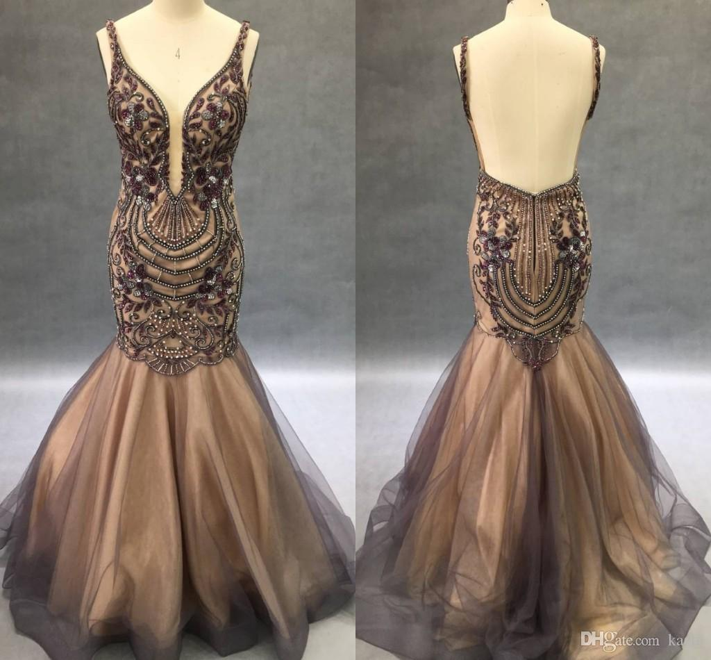 2018 Yousef Aljasmi Mermaid Evening Pageant Dresses Luxury Sparkly Amethyst Crystal Backless Fishtail Sexy Prom Occasion Dress Real image