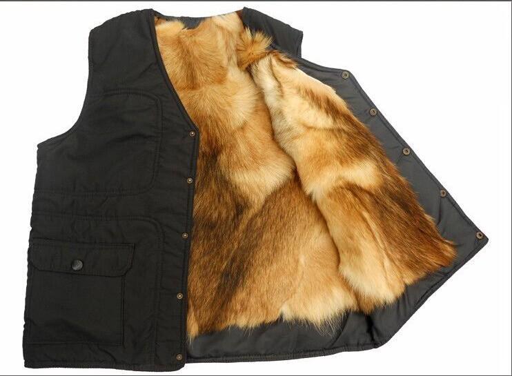 Осень и зима на открытом воздухе Мужчины из натуральной кожи quinquagenarian мужской меховой цельный жилет из термального меха