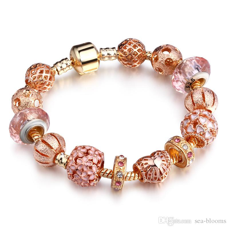 High Quality European Style Rose Gold Crystal Silver Beads Charm Bracelets for Women Original DIY Beads Jewelry Free Shipping D643S