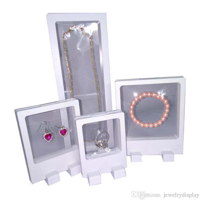 4 Unids Blanco PET Colgante Transparente Caso de la Ventana Joyería Multifuncional Pendiente Pulsera Collar de Perlas Anillo Soporte de Exhibición Caja