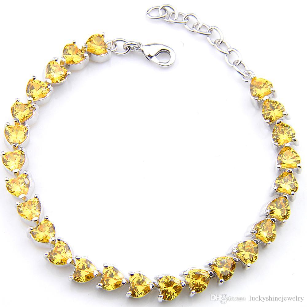 5шт Luckyshine Уникальный шарм 925 Silver в форме сердца цитрина драгоценных камней для женского циркона браслеты браслеты партии Engagemets подарка