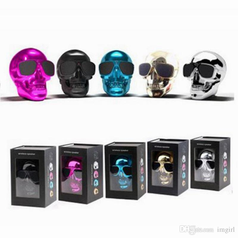 Wholesale Portable Skull Bluetooth Speakers Skull Head Ghost Wireless Stereo Subwoofer Mega Bass 3D Stereo Hand-free Audio Player DHL