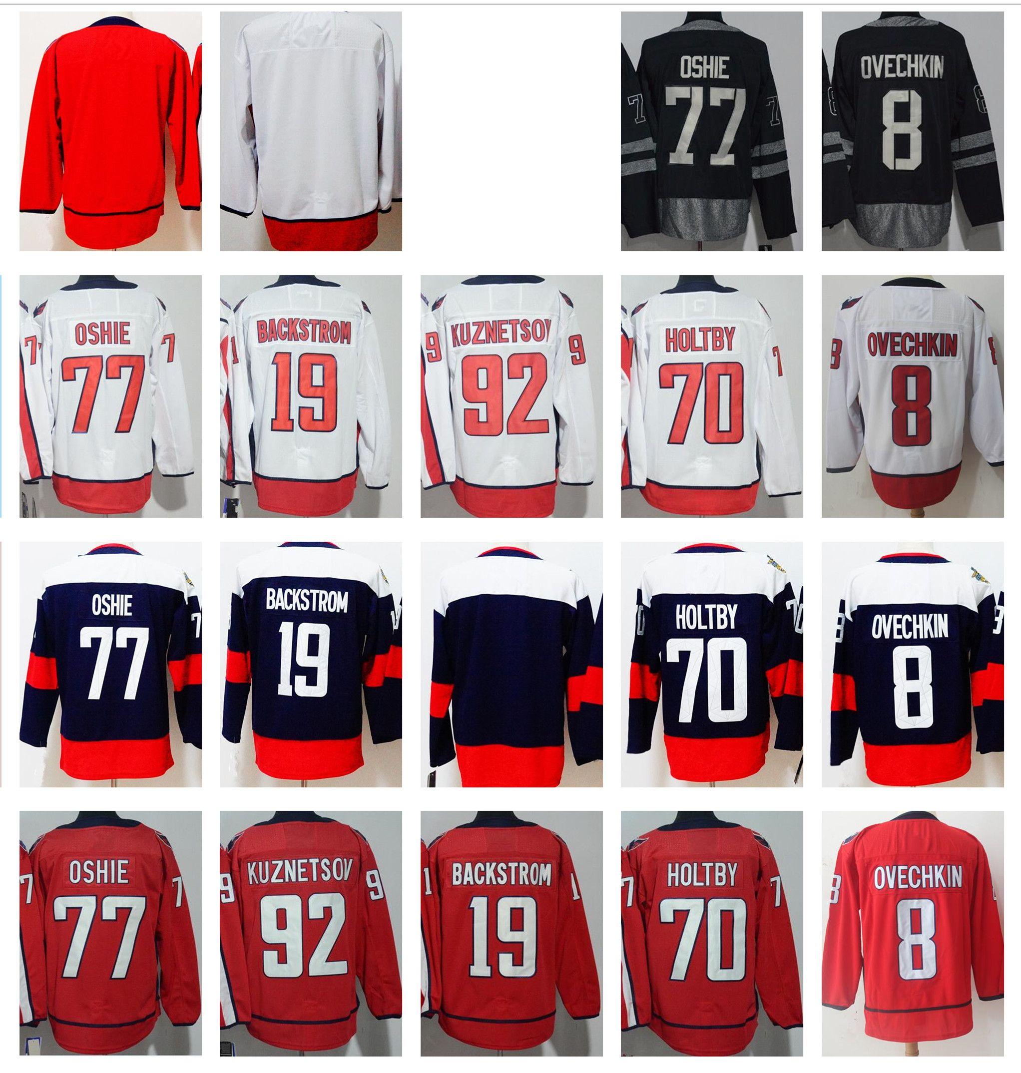 Hommes Washington 8 Alexander Ovechkin 77 TJ Oshie 19 Nicklas Backstrom 70 Braden Holtby 92 Kuznetsov 2018 Stade Série Chandails de Hockey
