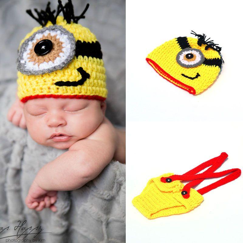 Recién llegado de bebé recién nacido foto de dibujos animados apoyos de fotografía Crochet Minions ropa conjunto de punto sombrero de bebé de invierno