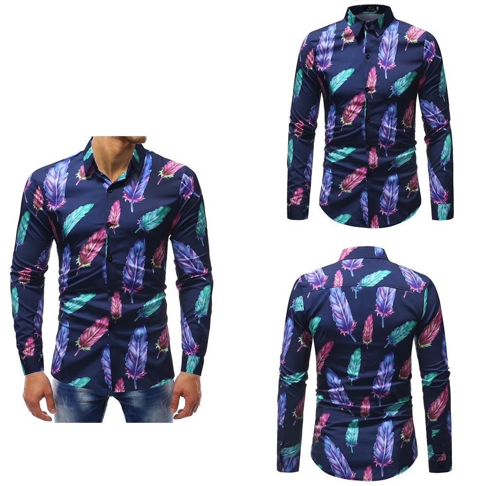 Camisa para hombre Moda Casual Hoja Patrón Impreso manga larga Camisa con cuello vuelto