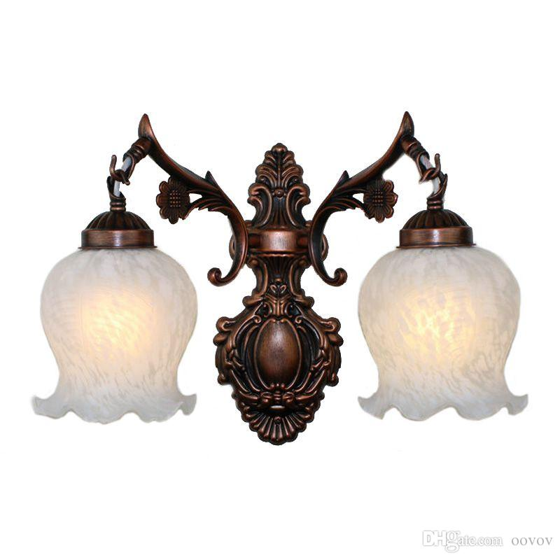 OOVOV Red Bronze Vintage Dining Room Wall Lamp European Iron Living Room Study Room Wall Lamp Bedroom Bedsides Wall Lamps