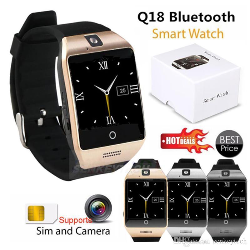 "Android Samsung iphone için S18 Akıllı Saatler 1.54"" Kavisli Ekran Bluetooth Smart İzle telefon Q18 ile Kamera Tf Sim Kart Yuvası"