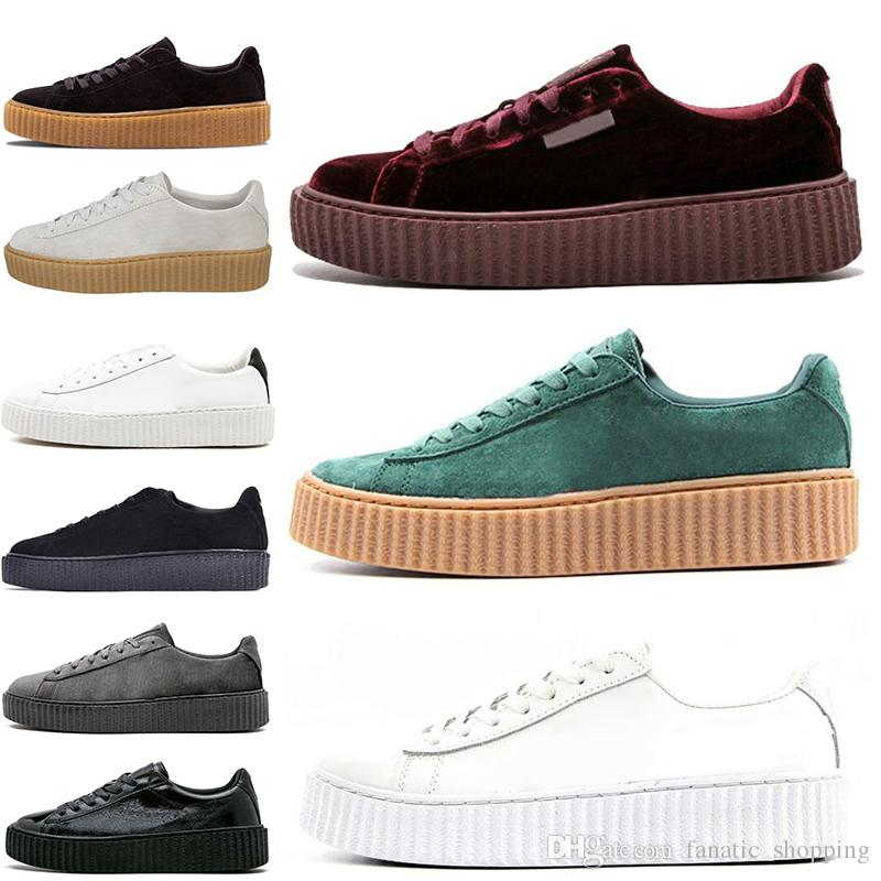 best loved 3b1b5 1630c 2019 Rihanna Fenty Creeper Cleated Cracked Leather Suede Velvet Basket  Platform PUMO PUM Outdoor Shoes Athletic Casual Shoes Sneakers 36 44  Discount ...