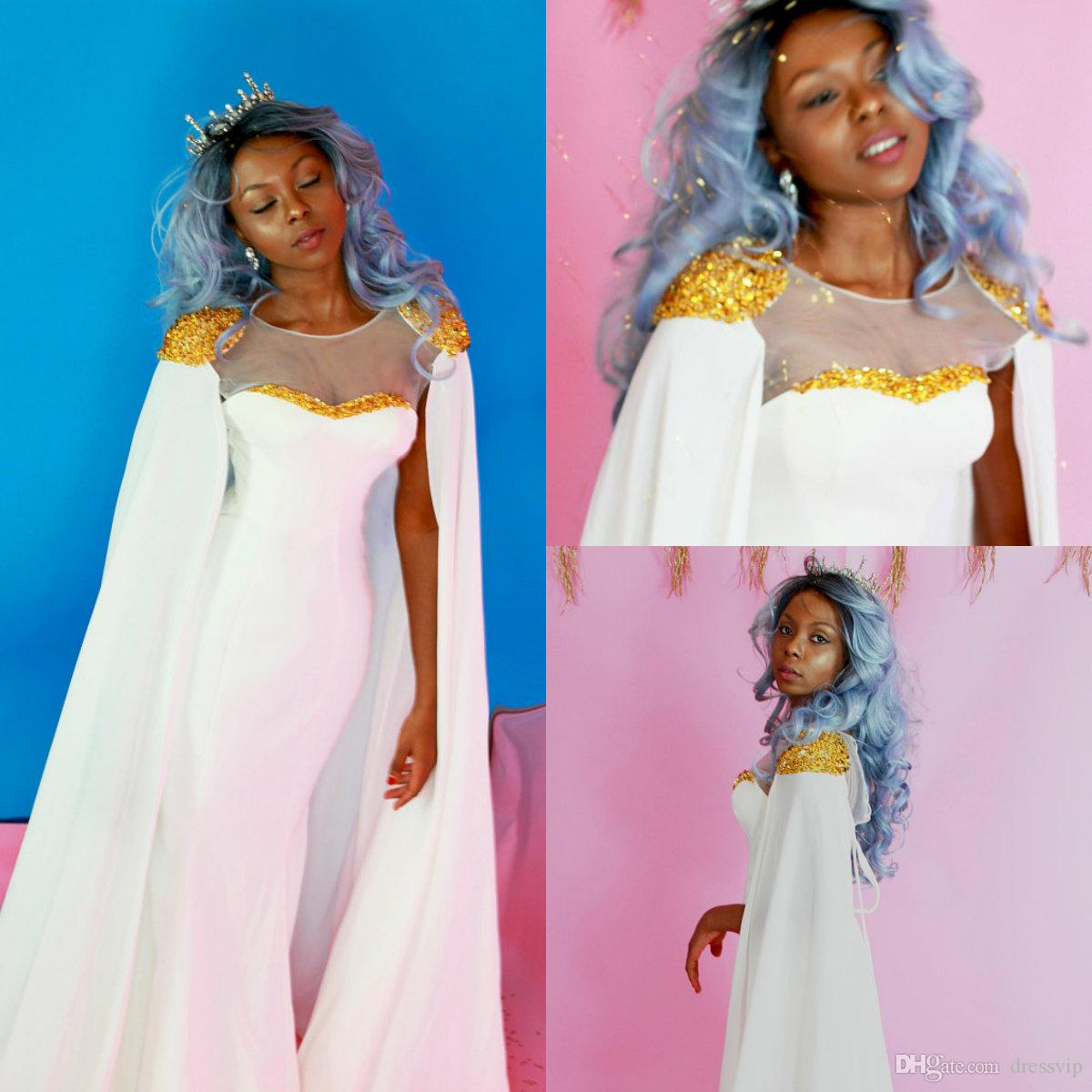 Beyaz Mermaid Gelinlik Ile Altın Boncuklu Payetli Sweep Tren Jewel Boyun Pelerin Artı Boyutu Örgün Elbise Ile Afrika Abiye giyim Parti
