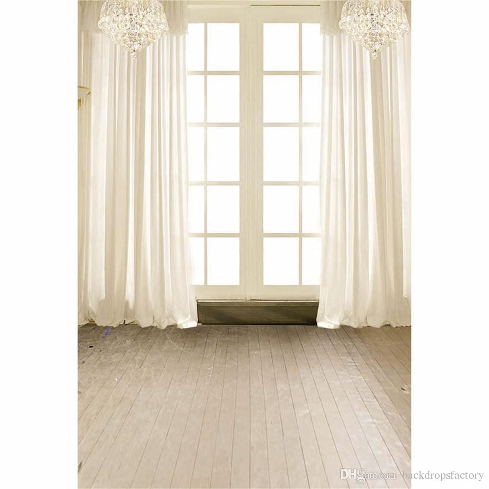 Intérieur blanc rideau vinyle arrière-plans fenêtre pour studio photo cristal lustre enfants photographie de mariage toile de fond plancher en bois