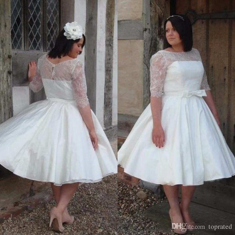 Discount 2019 Ivory Lace Satin Half Sleeves Plus Size Vintage Tea Length  Wedding Dresses Boat Neck 50s Informal Bridal Dress Wedding Gowns Plus Size  ...