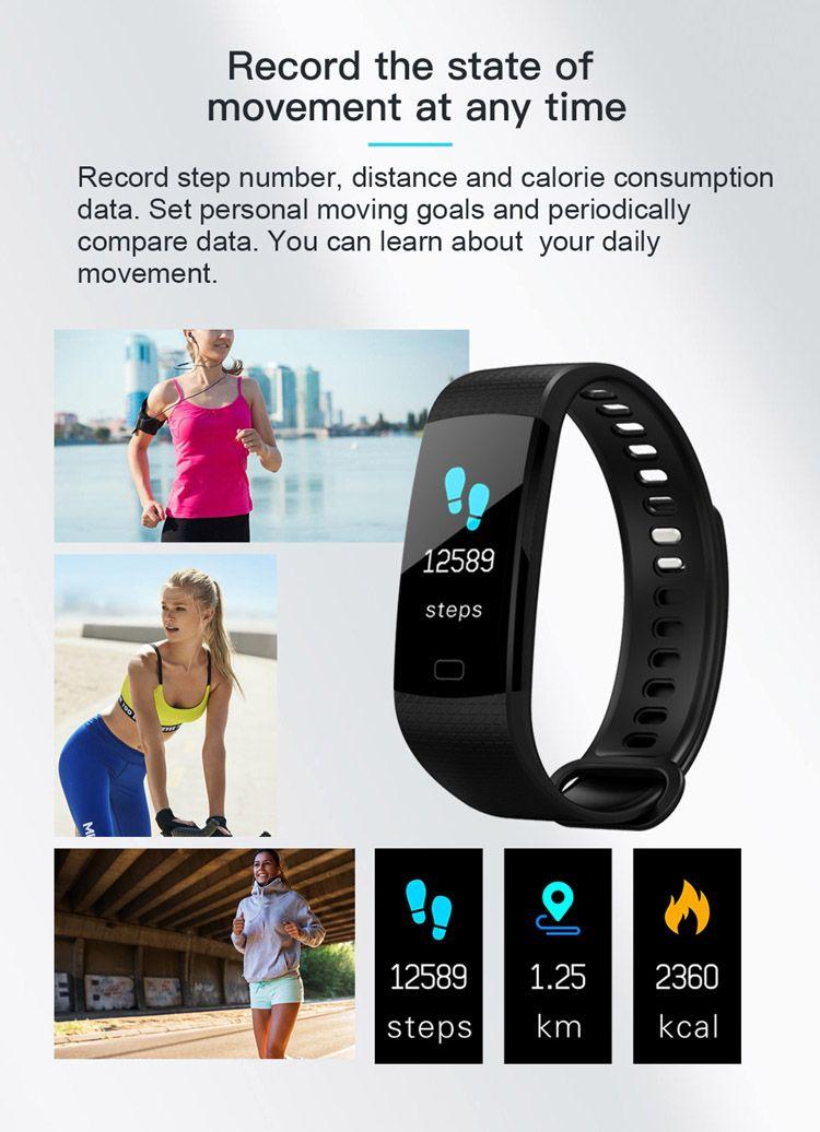 Bluetooth Pulsera Inteligente Y5 Smart Wirstband Color Display Llamada / SMS / Aplicación Push Fitness Tracker Health Tracker Smart Band