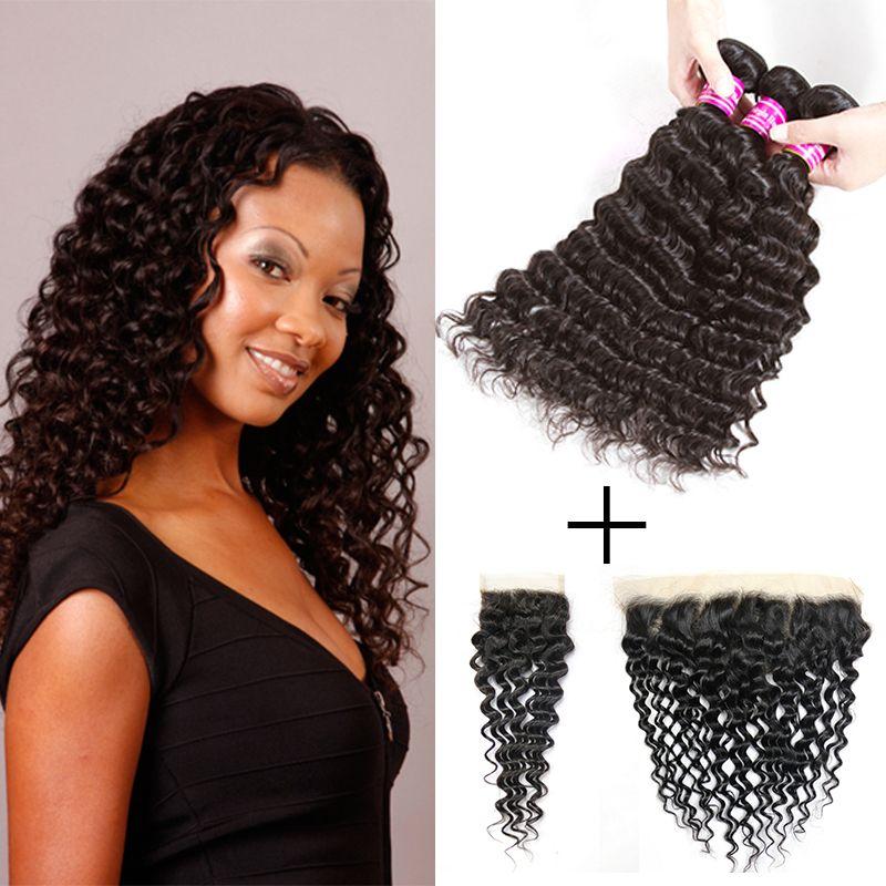 Fasci di capelli vergini brasiliani con onda profonda e fasci di capelli umani con chiusura in pizzo 3 pacchi con accessori per l'estensioni dei capelli