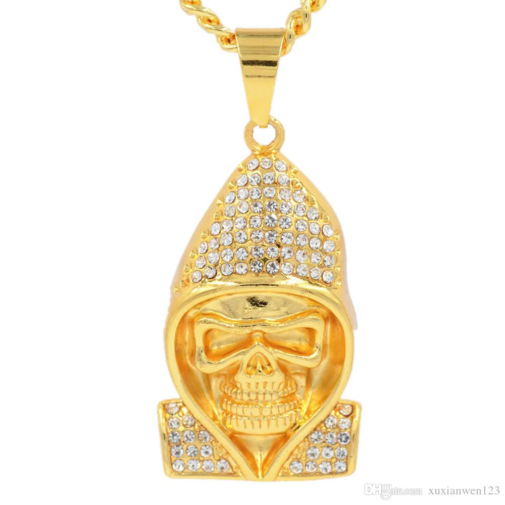Hip Hop skull with hat gold Pendants Necklaces & Pendants Bling Bling Iced Out Crystal Necklaces Stainless Steel Rope Chain