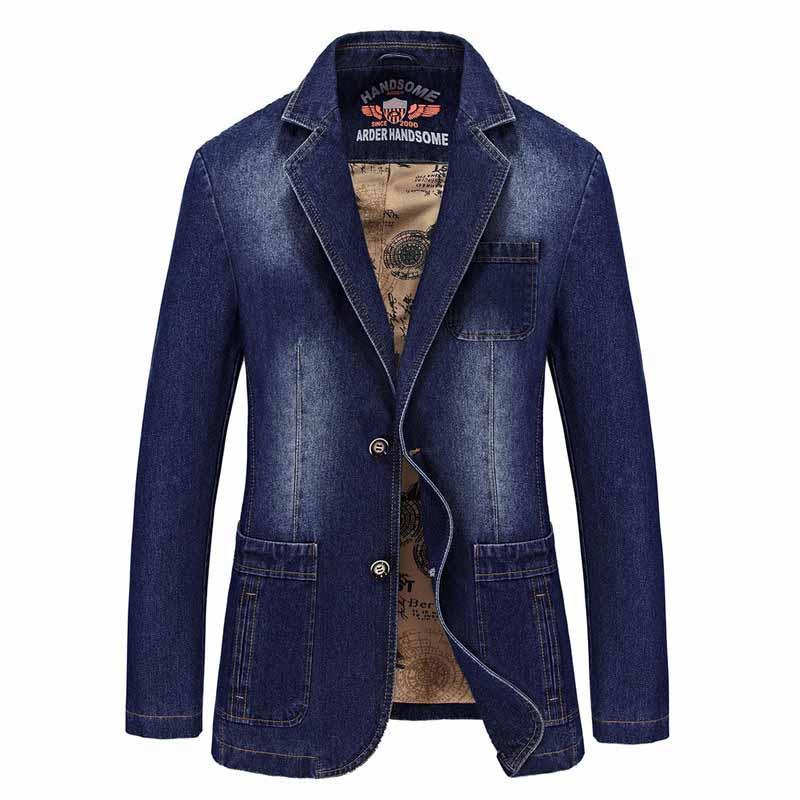 Nouvelle Marque De Mode Hommes Costume Casual Blazer Manteau En Denim Cowboy Blazer Veste Mâle Loisirs Veste Coton Bleu Noir