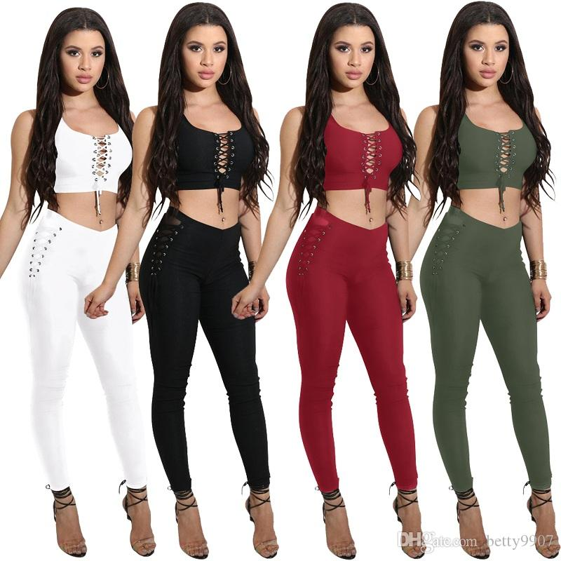 26472184b2a Womens Pants Two Piece Outfits Clothes Crop Top Pants Set 2018 Summer Sexy  Party Club Lace Up Beach Wear