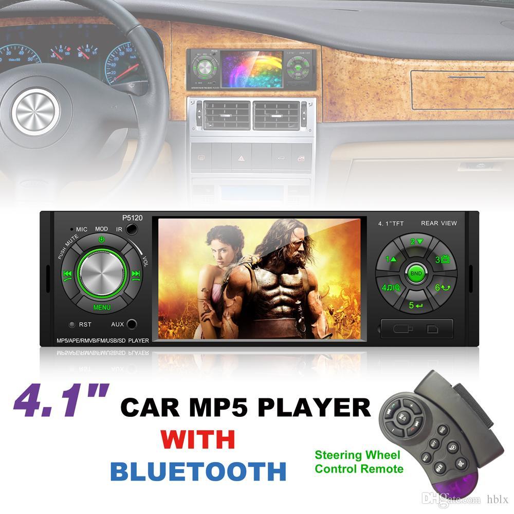 P5120 4.1 Polegada 1 Din Bluetooth Car MP5 Player Tela TFT Estéreo De Áudio FM Station Auto Vídeo com Controle Remoto CMO_22Q