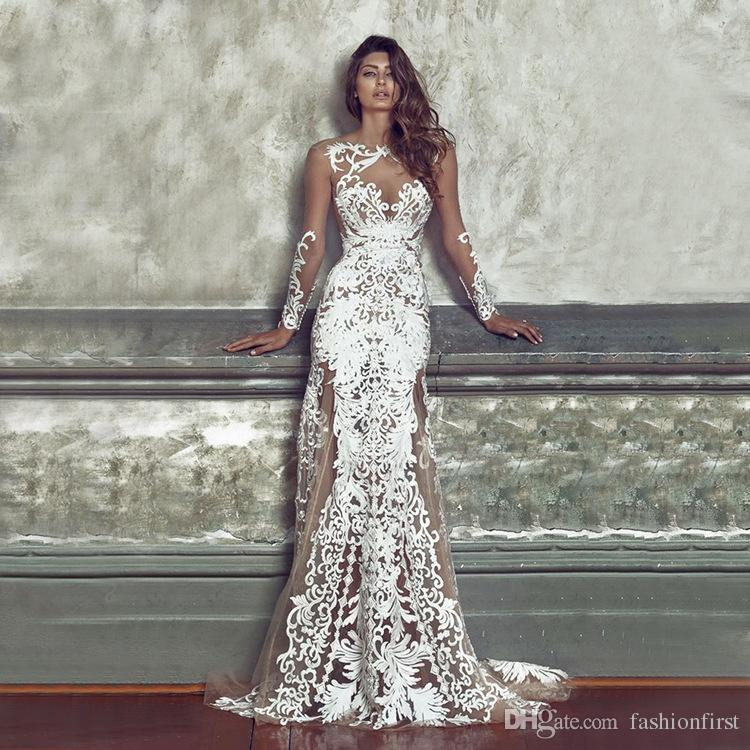 2020 High Quality Sexy Dress Fitted Lace Wedding Dress Sweetheart Illusion Neckline Deep V Open Back With Zipper Fit And Flare Wedding Dress From Fashionfirst 27 44 Dhgate Com,Wedding Dresses Toronto Plus Size