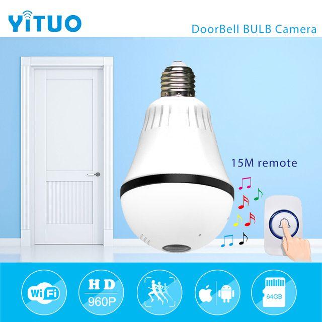 960 P 1.3mp 360 градусов Лампа VR Панорамная Камера E27 Свет Беспроводной Wi-Fi Домашний Дверной Звонок IP-Камеры Безопасности мини CCTV YITUO