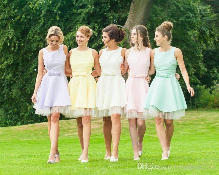 Новая страна линия короткие платья невесты с бантом Jewel шеи молнии обратно Homecoming платья партии
