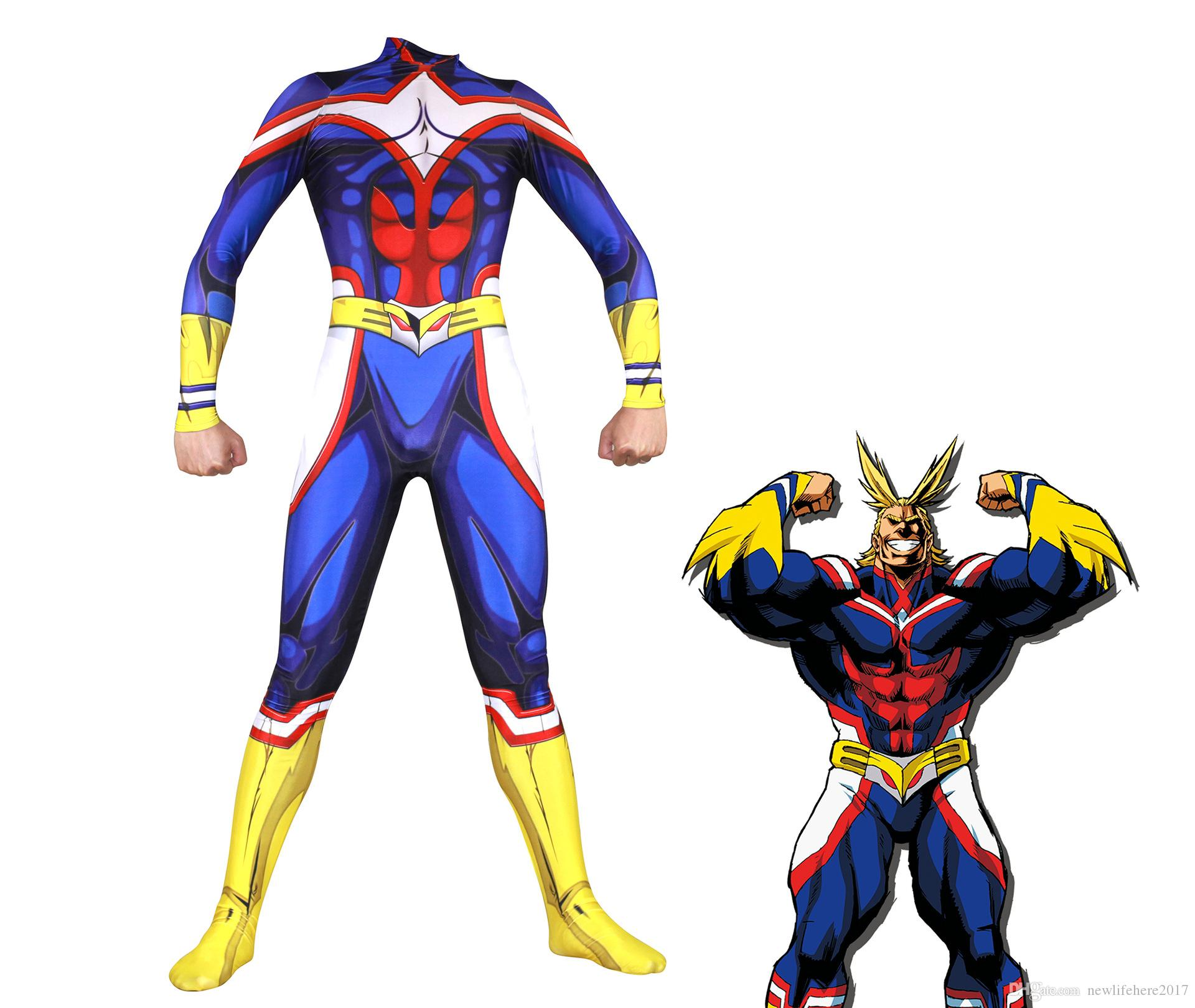 Benim Kahraman Academia Tüm Might Cosplay Kostüm Zentai Lycra Spandex Mavi Tam Vücut Zarif Bodysuit Tulum Suits