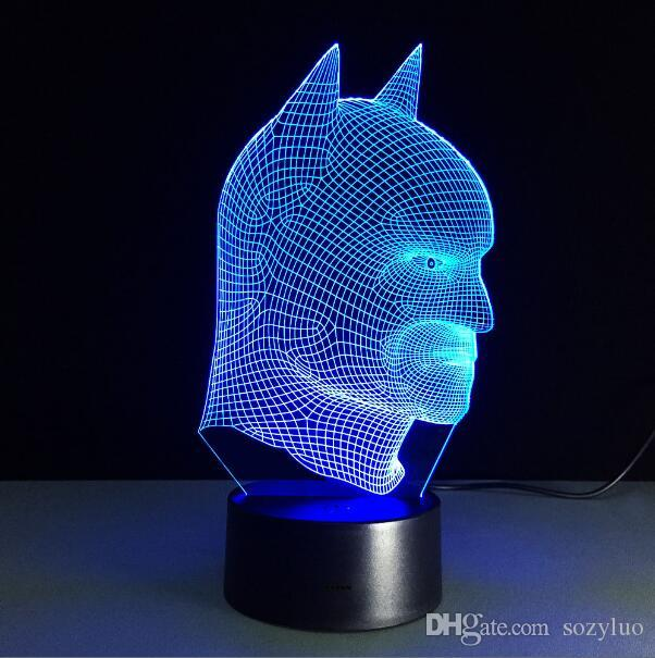Cool Christmas Gifts Batman vs Superman 3D Acrylic LED Lantern Night Light Touch Desk Table Lamp Glow in the Dark Action Figure Toy For Kids