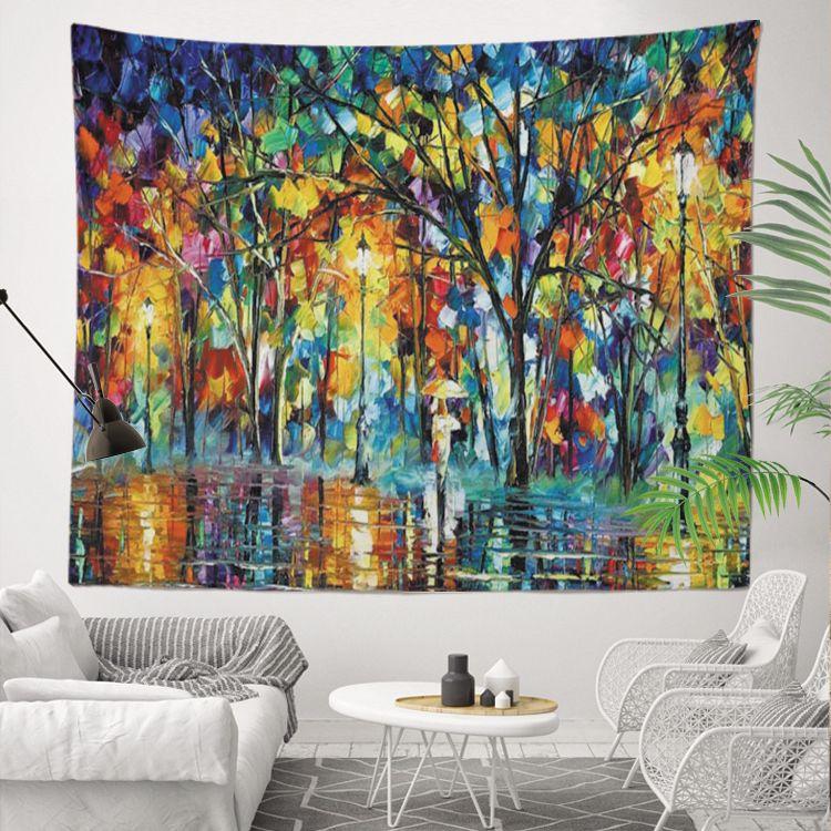 Fantezi Renkli Yüksek Kalite ve Sublime Baskılı 130x150 cm Soyut izlenim Ev Dekorasyon için Özelleştirilmiş 400g Duvar Goblen