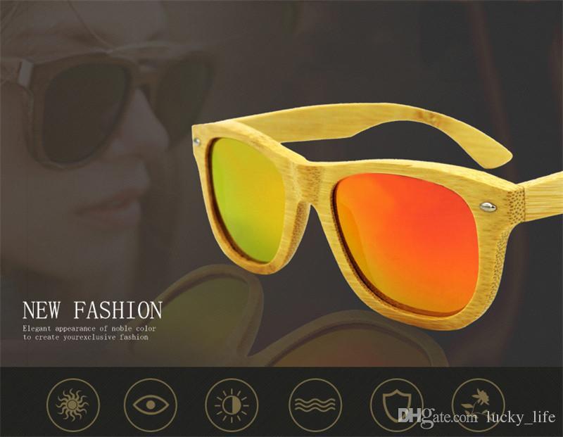 20 ADET Polarize El Yapımı Çerçeve Retro Ahşap Ahşap Bambu Güneş Gözlüğü Erkekler Bambu Güneş Gözlüğü Kadın Marka Tasarım Altın Ayna Güneş Gözlükleri