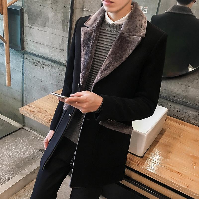 5xl Largo Trench Abrigo Hombre Abrigo Hombre Largo Hombre Abrigos Invierno 2018 Abrigo de lana Cuello de piel para hombre Vintage Manteau Homme Slim Fit