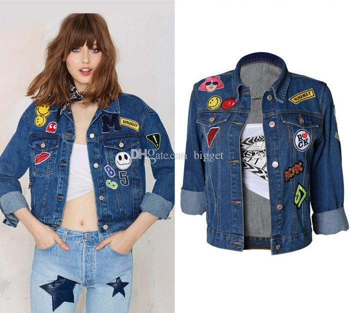 2018 Kız Sıcak Denim Ceket Popüler Tasarım BF Tarzı Nakış Aplike Kovboy Kot Giyim Üst Bayanlar