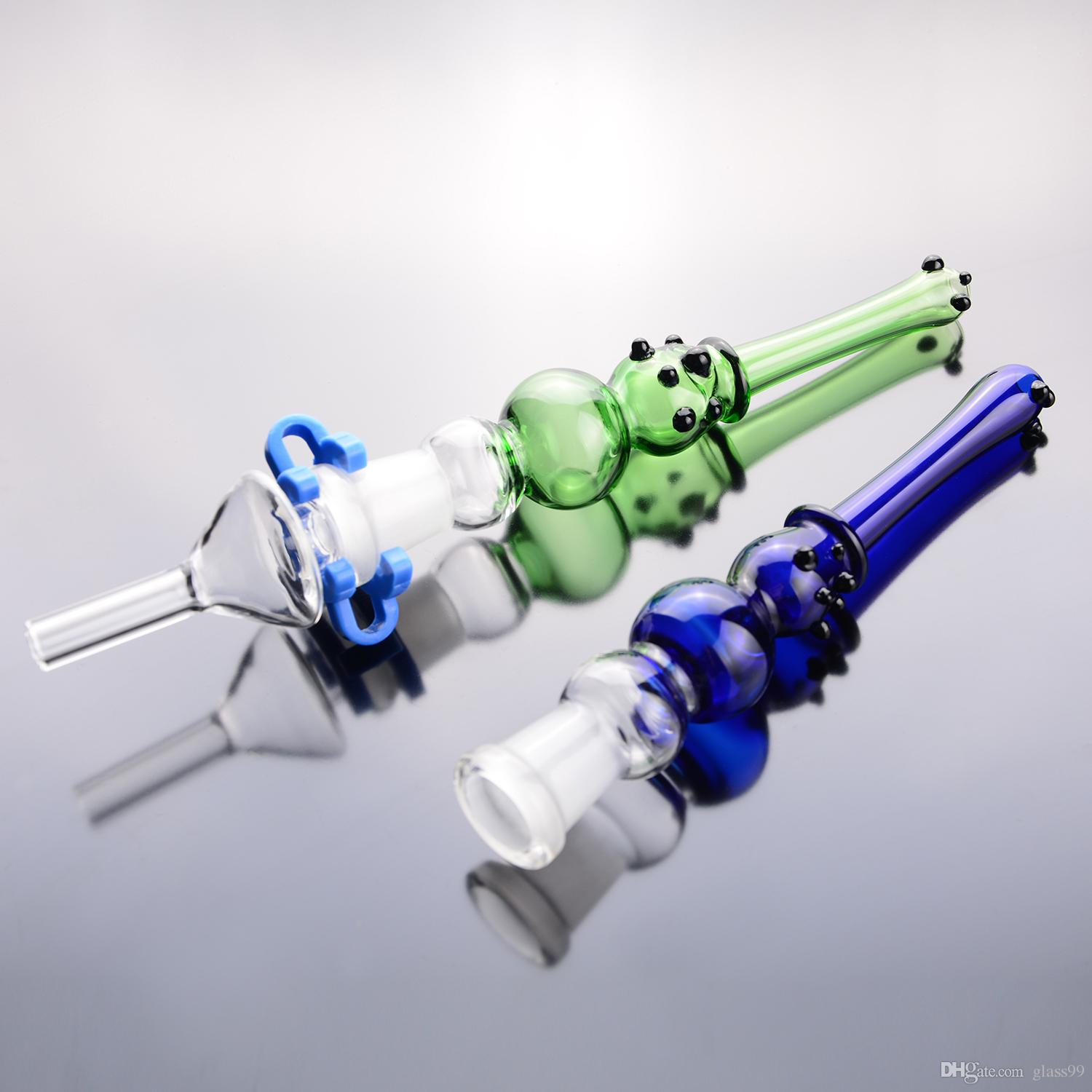 """kits glass pipe tip blue green 14mm joint 6"""" bubbler smoking pipe smoking bong with plastic clips"""