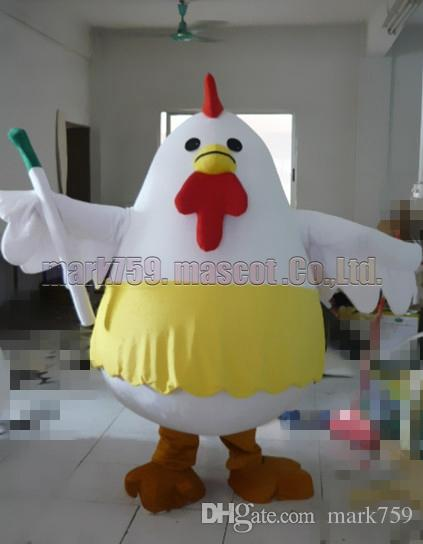 New white hen mascot costume Frete grátis tamanho adulto, frango mascote de luxo festa de carnaval de brinquedo de pelúcia comemora vendas de fábrica de mascote.