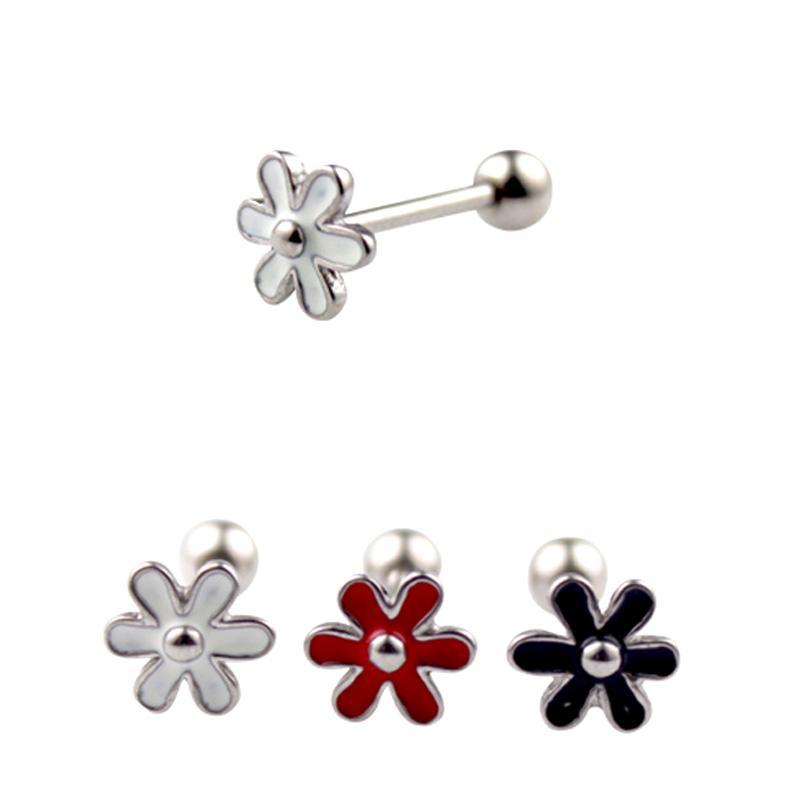Moda Sevimli Siyah Beyaz Kırmızı Çiçekler Dil Yüzükler Dil Çiviler 14G Titanyum Çelik Halter Halka Meme Vücut Piercing Takı Kadınlar hediye