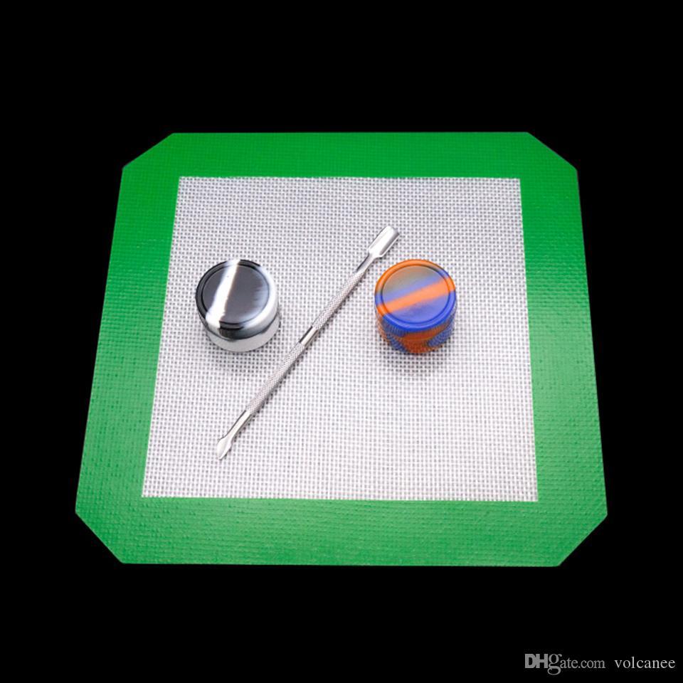 실리콘 DAB 도구 키트 패드 매트 컨테이너 흡연 왁 스 왁스 DABS 항아리 스테인레스 티타늄 Dabber 봉유 장비