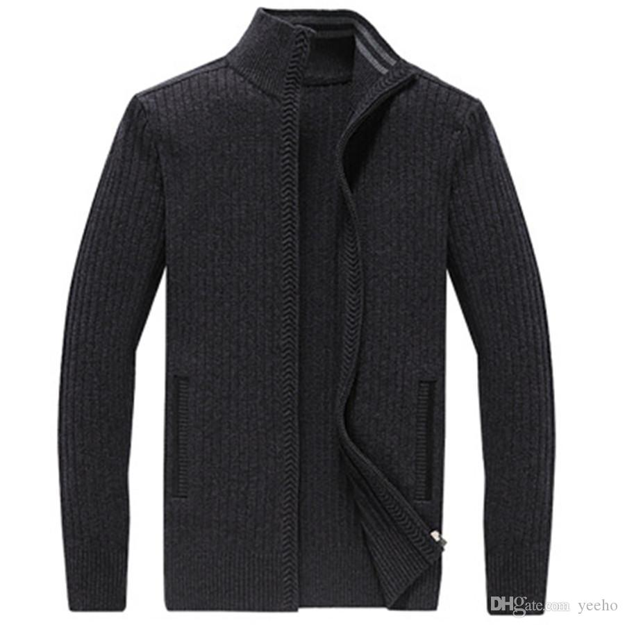 Knitting cardigan sweater men leisure zipper plus-size thickening high quality pure color turtleneck sweater coat autumn winter ZH-001