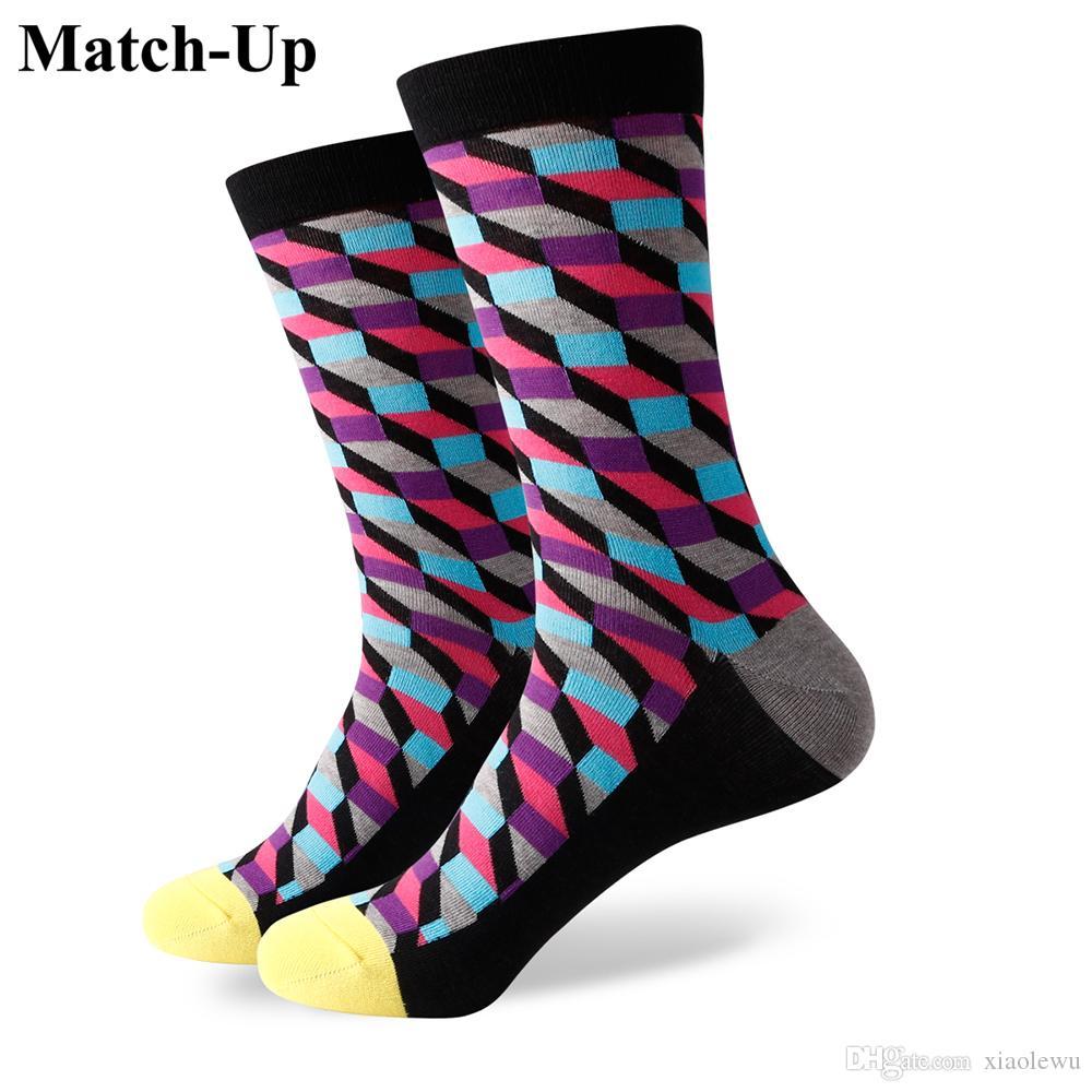 2016 nouveaux hommes colorés chaussettes en coton peigné, chaussettes à carreaux, expédition gratuite, taille US (7.5-12) 365