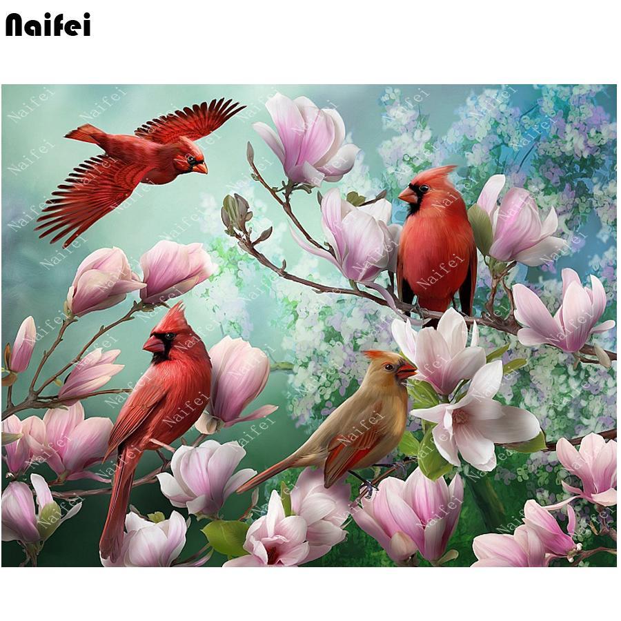 """3d ponto cruz pintura diamante """"flor rosa, pássaro vermelho"""" diamante bordado diy diamante mosaico bordado, pérola imagem, decoração"""