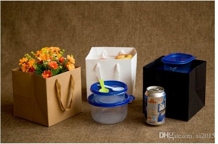 Kwiaty owocowe Bonsai Pieczenia Opakowanie Papierowa Torba Papierowa z uchwytem Kwadratowy Dolny Kraft Papier Prezent Torba Wen7049